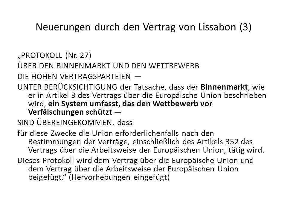 Neuerungen durch den Vertrag von Lissabon (3)
