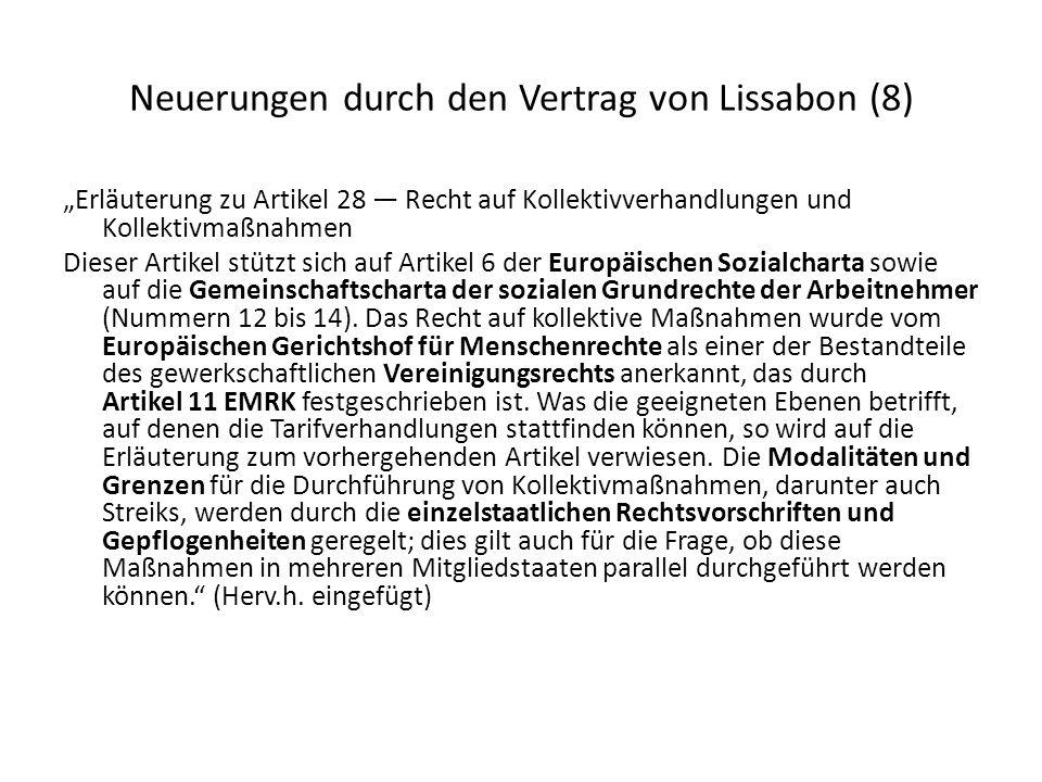 Neuerungen durch den Vertrag von Lissabon (8)