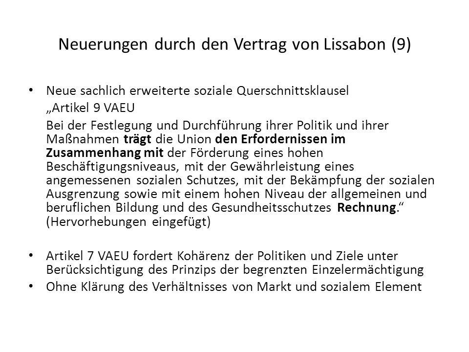 Neuerungen durch den Vertrag von Lissabon (9)