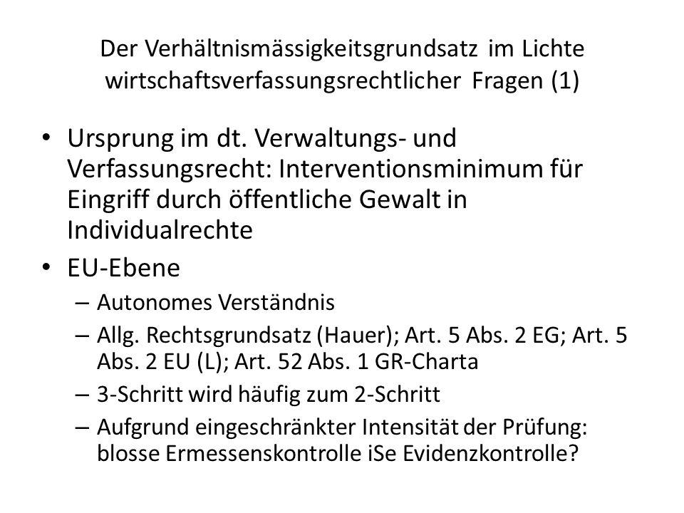 Der Verhältnismässigkeitsgrundsatz im Lichte wirtschaftsverfassungsrechtlicher Fragen (1)
