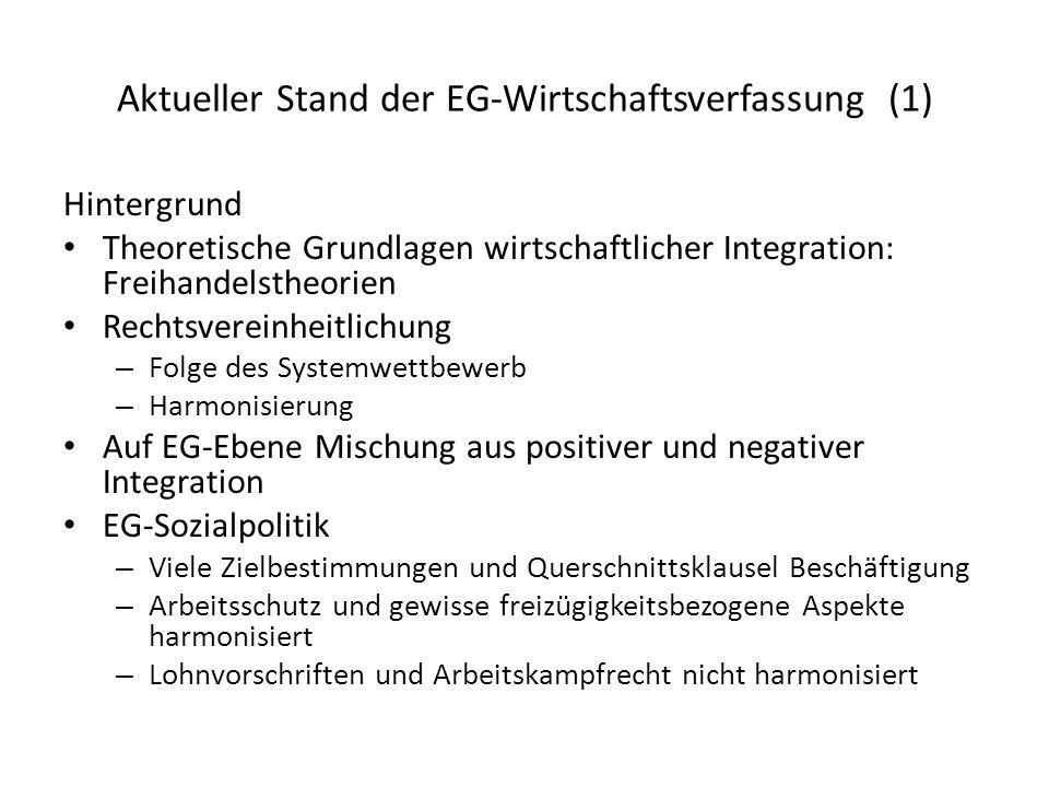 Aktueller Stand der EG-Wirtschaftsverfassung (1)
