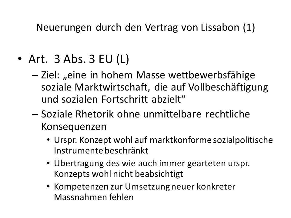 Neuerungen durch den Vertrag von Lissabon (1)