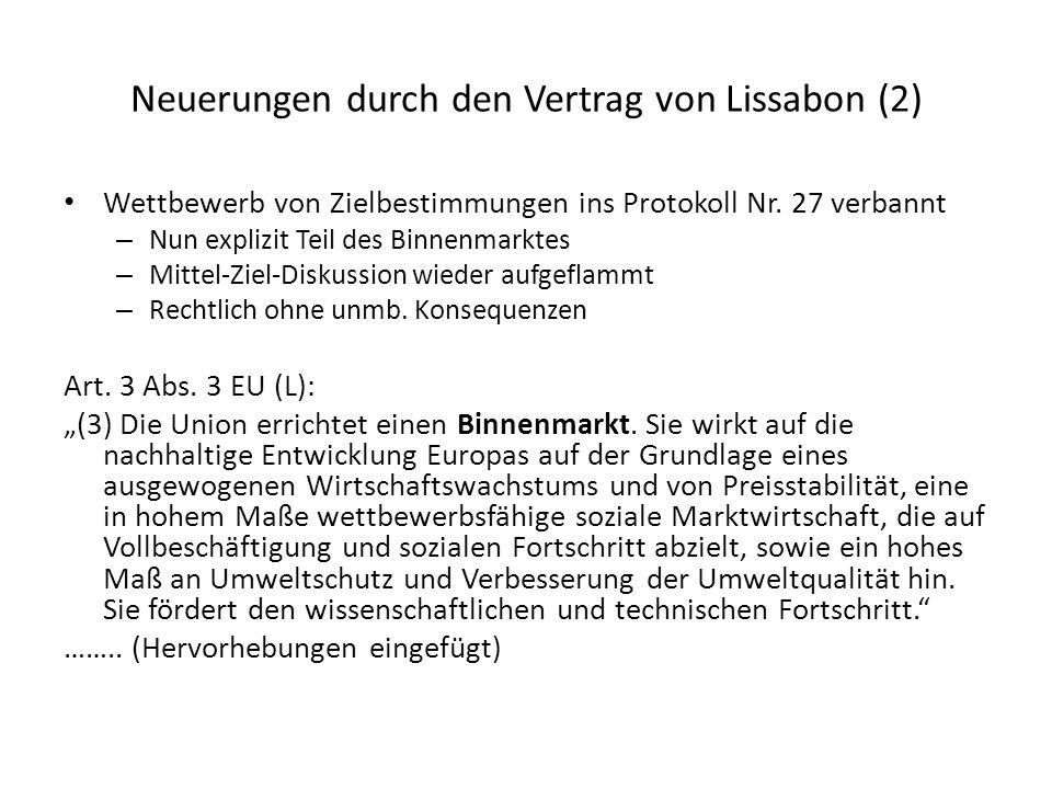 Neuerungen durch den Vertrag von Lissabon (2)