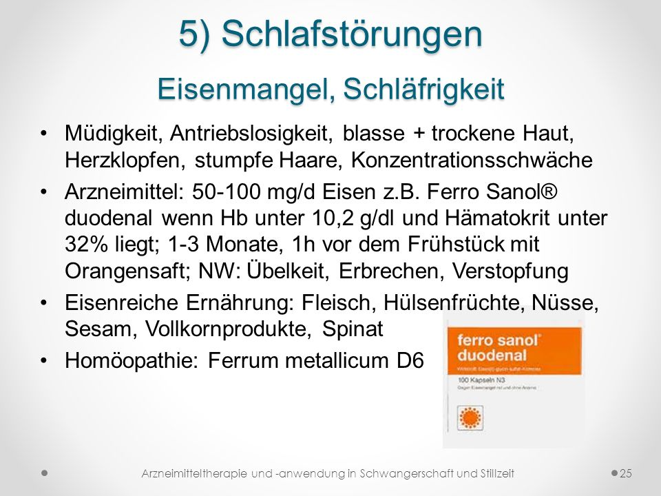 5) Schlafstörungen Eisenmangel, Schläfrigkeit