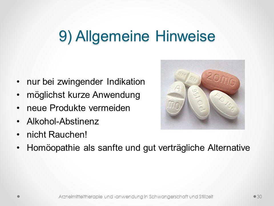 Arzneimitteltherapie und -anwendung in Schwangerschaft und Stillzeit