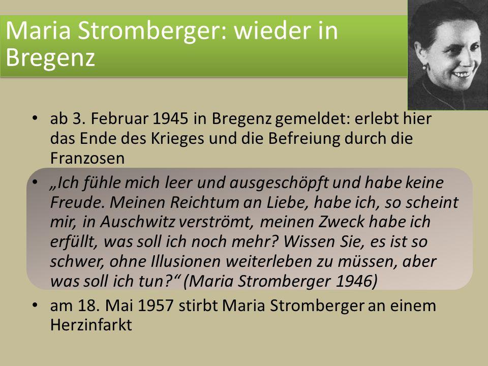 Maria Stromberger: wieder in Bregenz