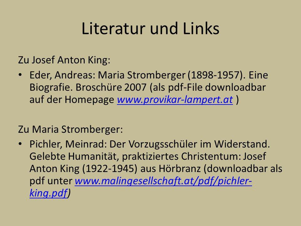Literatur und Links Zu Josef Anton King: