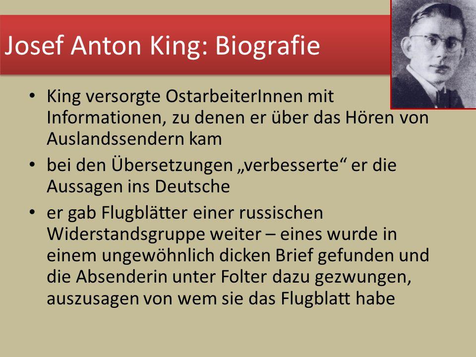 Josef Anton King: Biografie