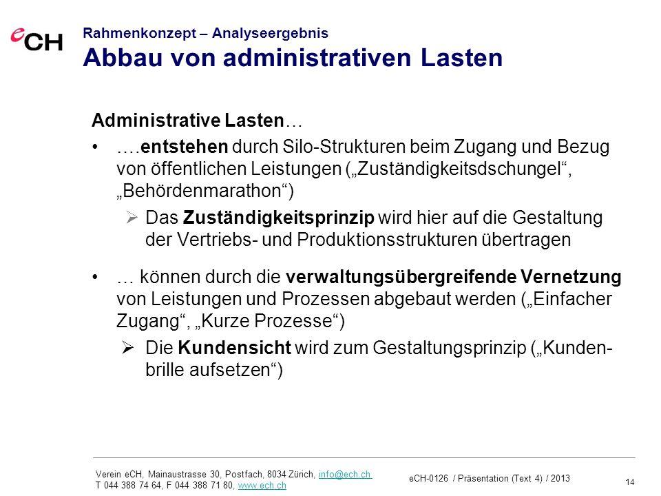 Rahmenkonzept – Analyseergebnis Abbau von administrativen Lasten