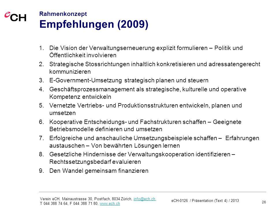 Rahmenkonzept Empfehlungen (2009)