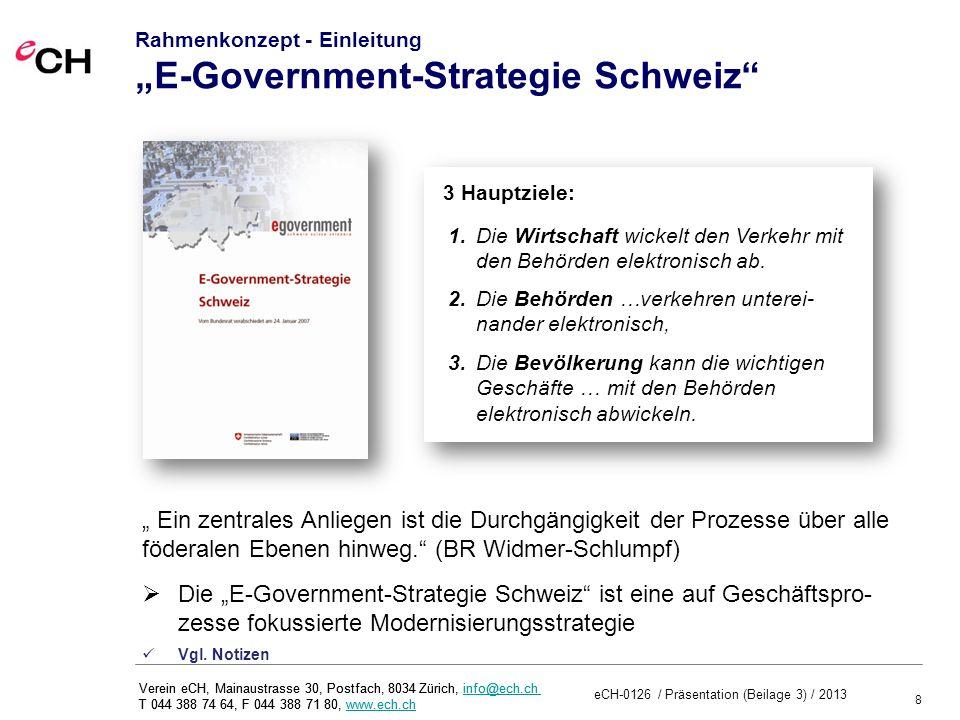 """Rahmenkonzept - Einleitung """"E-Government-Strategie Schweiz"""