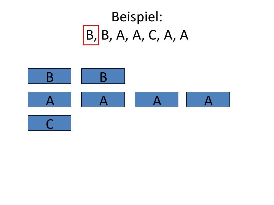 Beispiel: B, B, A, A, C, A, A B B A A A A C