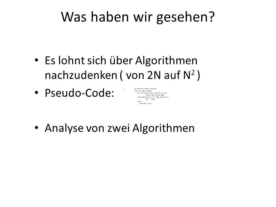 Was haben wir gesehen Es lohnt sich über Algorithmen nachzudenken ( von 2N auf N2 ) Pseudo-Code: Analyse von zwei Algorithmen.
