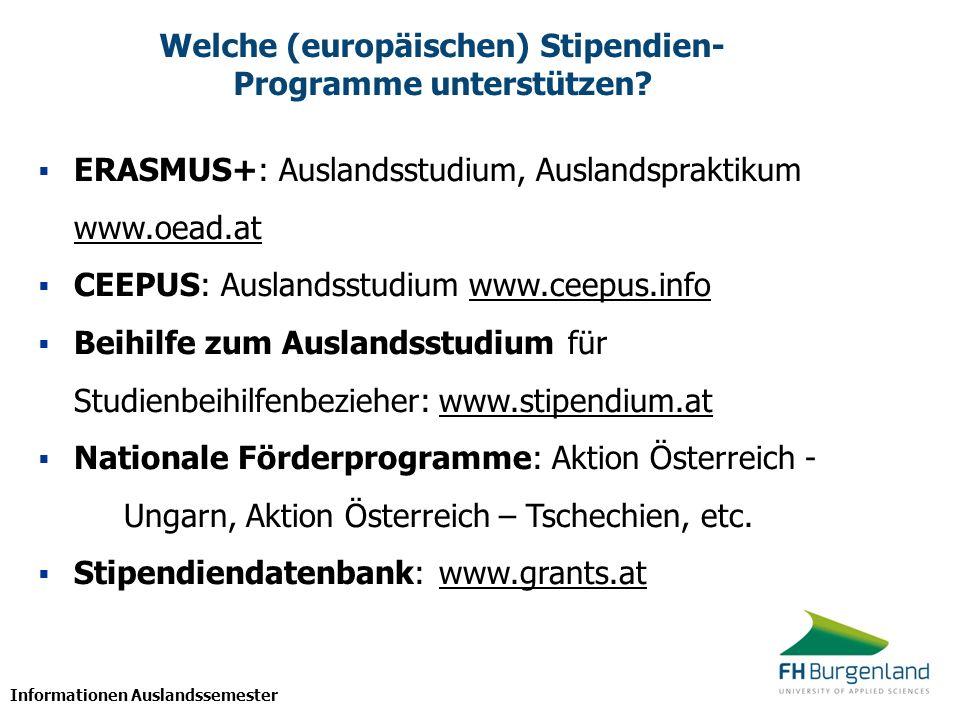 Welche (europäischen) Stipendien-Programme unterstützen