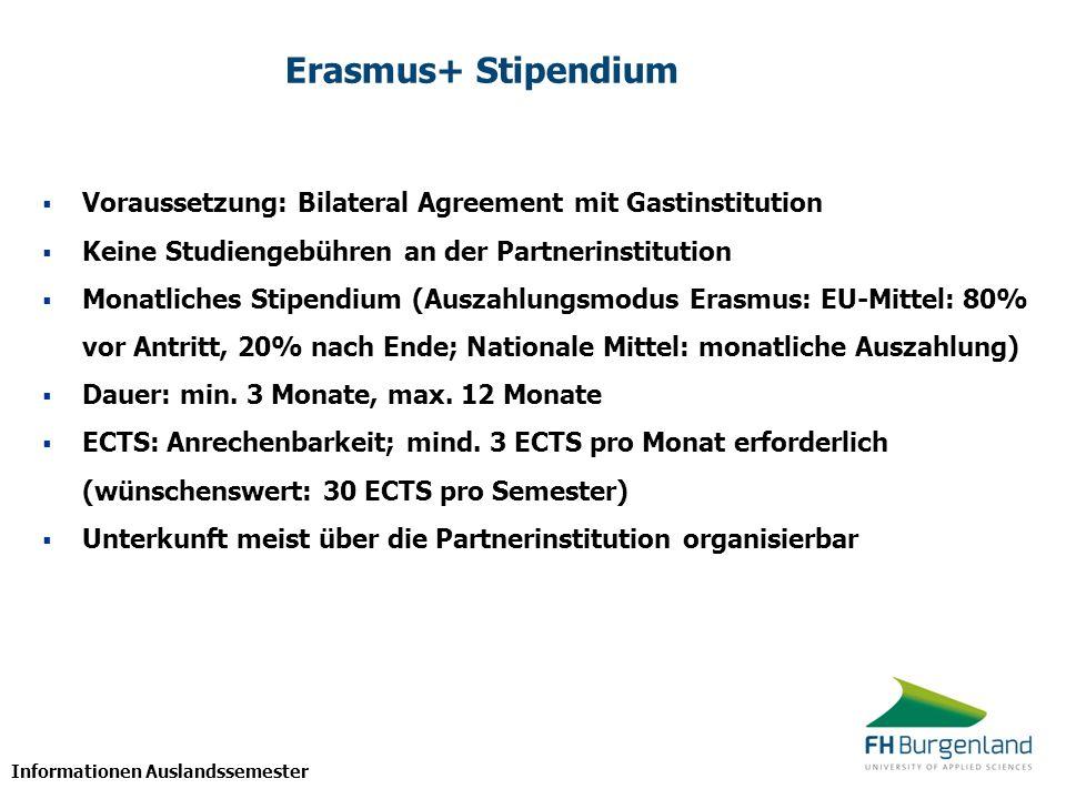 Erasmus+ StipendiumVoraussetzung: Bilateral Agreement mit Gastinstitution. Keine Studiengebühren an der Partnerinstitution.