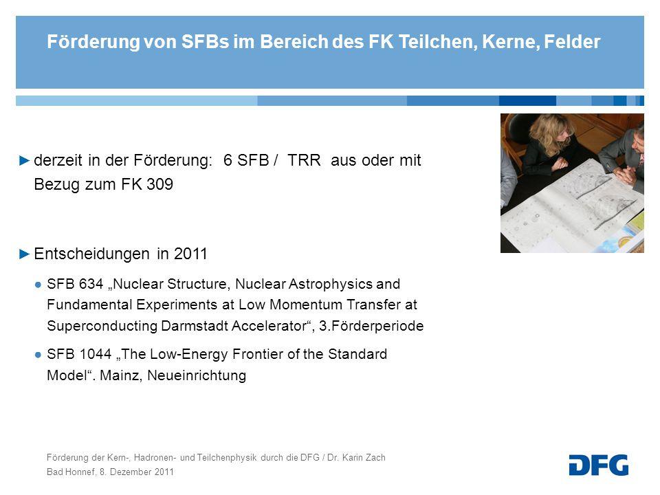 Förderung von SFBs im Bereich des FK Teilchen, Kerne, Felder