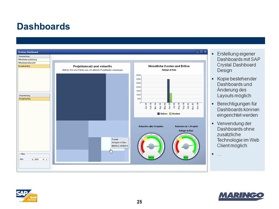 Dashboards Erstellung eigener Dashboards mit SAP Crystal Dashboard Design. Kopie bestehender Dashboards und Änderung des Layouts möglich.