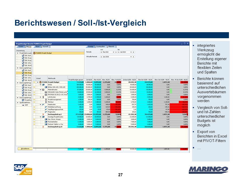 Berichtswesen / Soll-/Ist-Vergleich