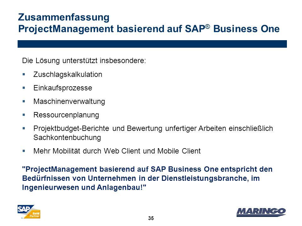 Zusammenfassung ProjectManagement basierend auf SAP® Business One