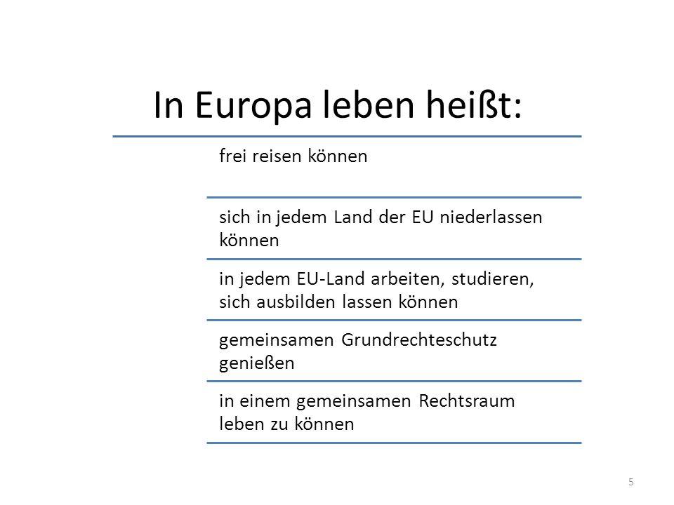 In Europa leben heißt: frei reisen können