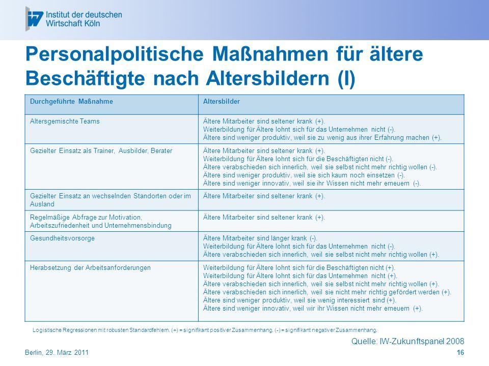Personalpolitische Maßnahmen für ältere Beschäftigte nach Altersbildern (I)