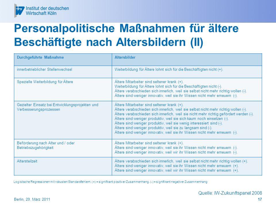 Personalpolitische Maßnahmen für ältere Beschäftigte nach Altersbildern (II)
