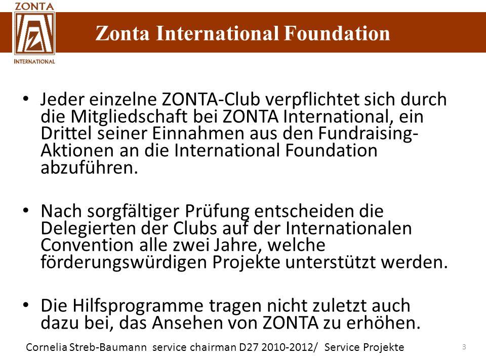 Jeder einzelne ZONTA-Club verpflichtet sich durch die Mitgliedschaft bei ZONTA International, ein Drittel seiner Einnahmen aus den Fundraising-Aktionen an die International Foundation abzuführen.