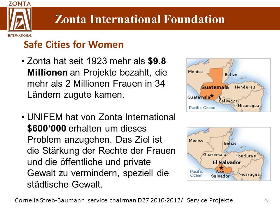 Safe Cities for Women Zonta hat seit 1923 mehr als $9.8 Millionen an Projekte bezahlt, die mehr als 2 Millionen Frauen in 34 Ländern zugute kamen.
