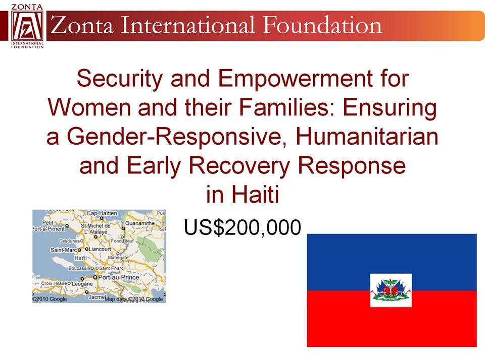 Security and Empowerment for Women and their Families: Ensuring a Gender-Responsive, Humanitarian and Early Recovery Response in Haiti