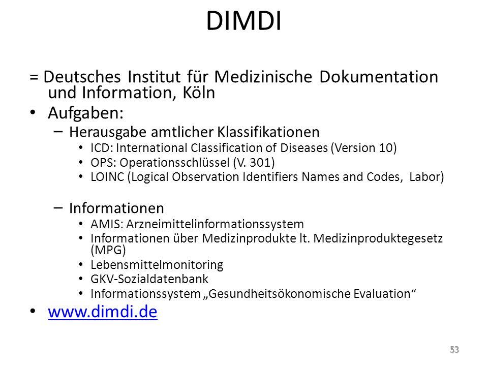 DIMDI = Deutsches Institut für Medizinische Dokumentation und Information, Köln. Aufgaben: Herausgabe amtlicher Klassifikationen.