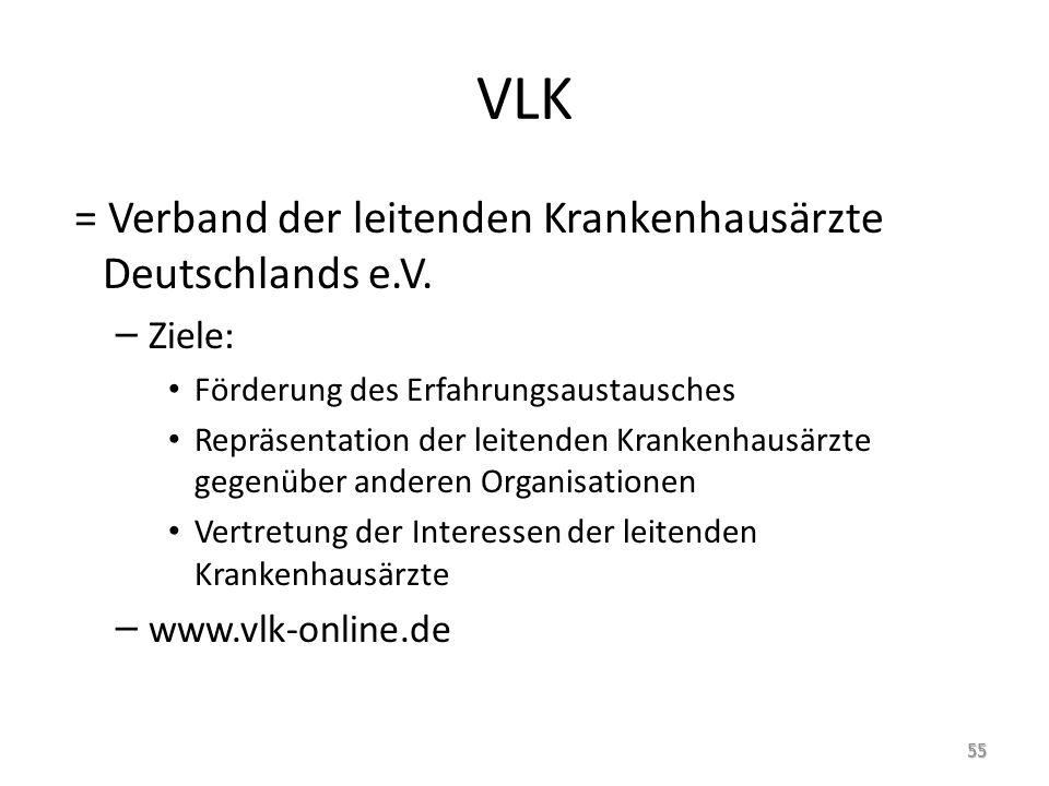 VLK = Verband der leitenden Krankenhausärzte Deutschlands e.V. Ziele: