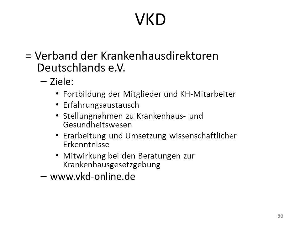 VKD = Verband der Krankenhausdirektoren Deutschlands e.V. Ziele: