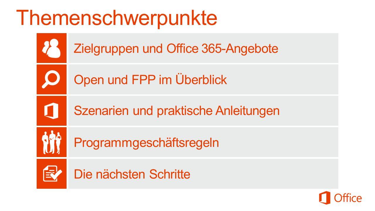 Themenschwerpunkte Zielgruppen und Office 365-Angebote