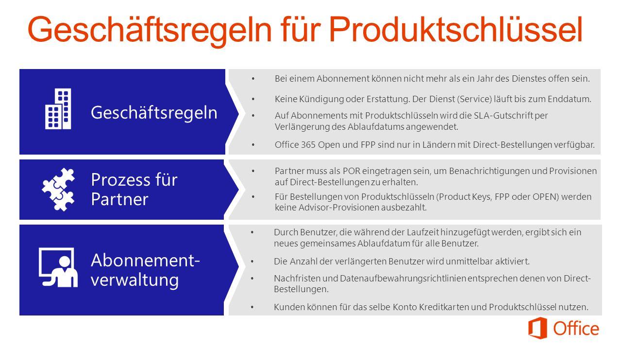 Geschäftsregeln für Produktschlüssel