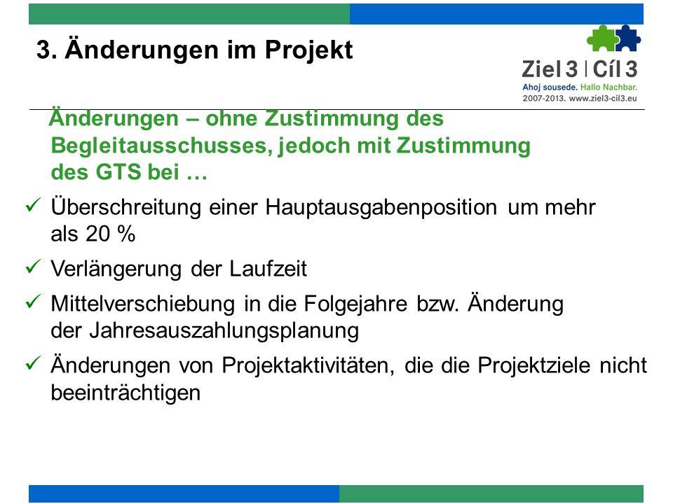 3. Zuwendungsvertrag und Auszahlungsplanung 3. Änderungen im Projekt