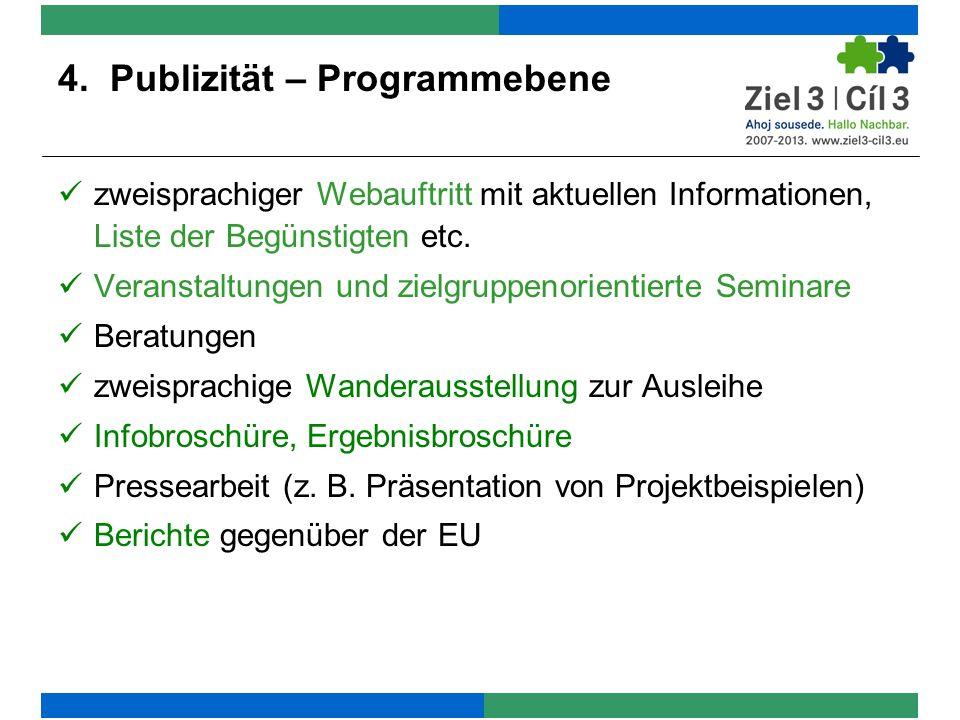 4. Publizität – Programmebene