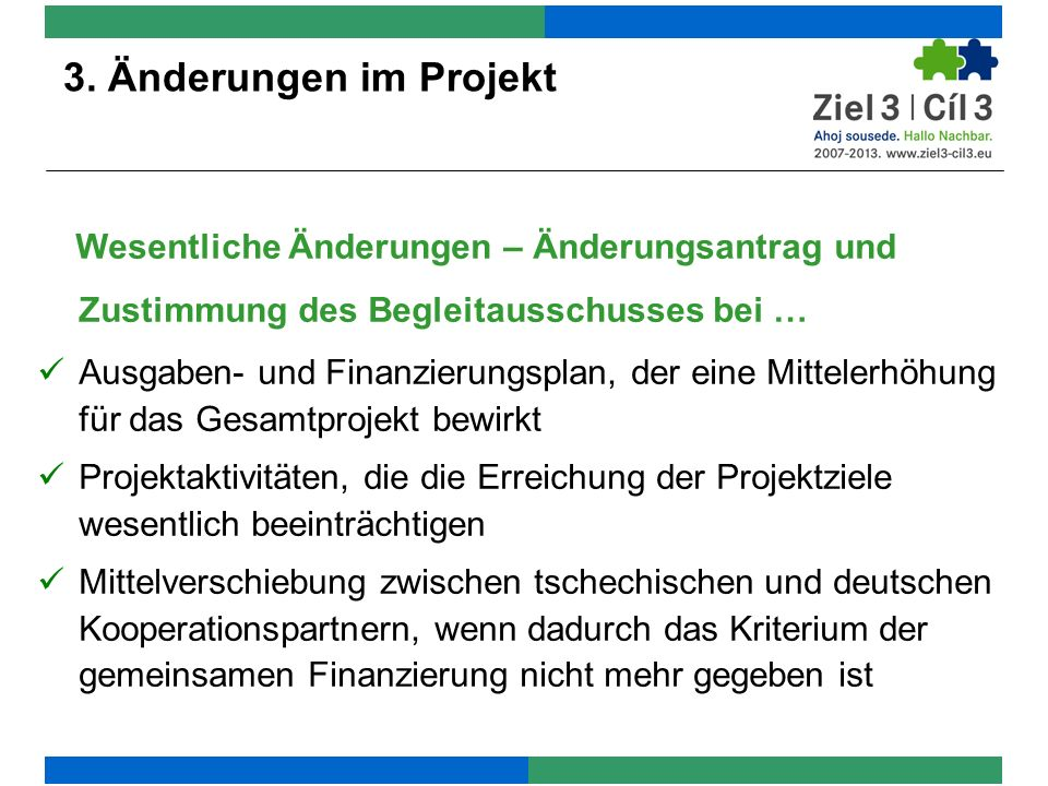 3. Änderungen im Projekt 3. Änderungen im Projekt