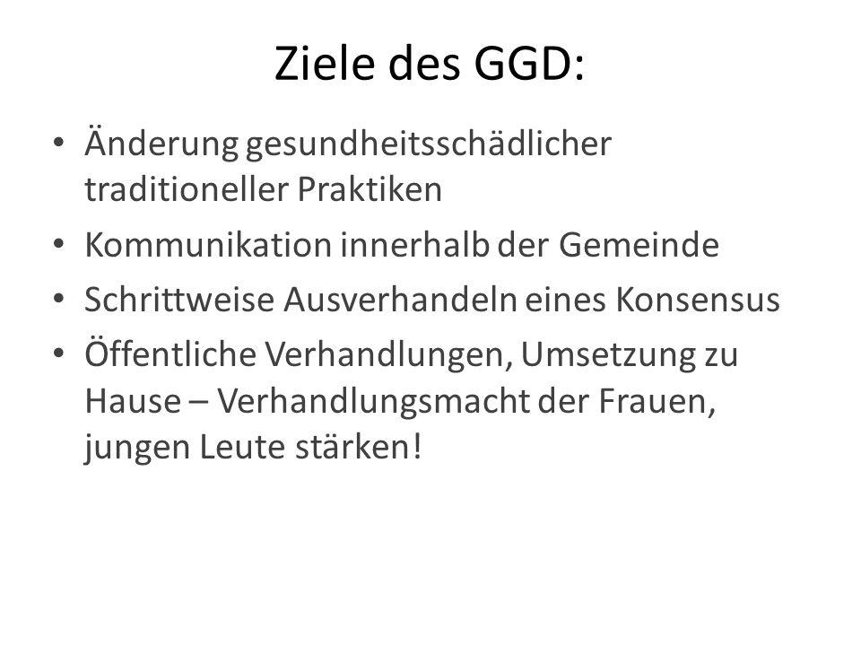 Ziele des GGD: Änderung gesundheitsschädlicher traditioneller Praktiken. Kommunikation innerhalb der Gemeinde.