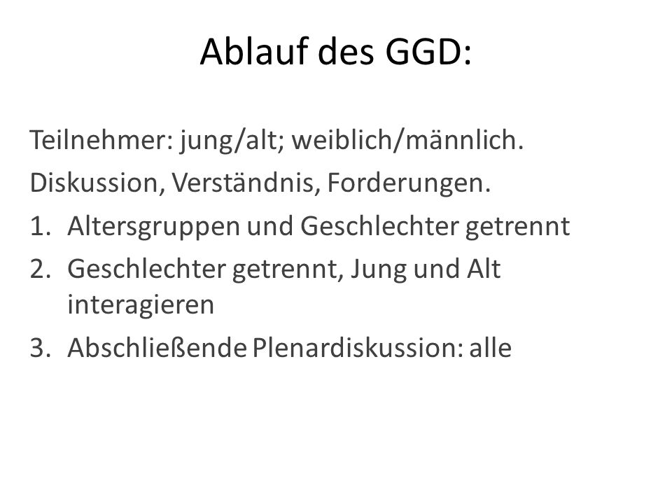 Ablauf des GGD: Teilnehmer: jung/alt; weiblich/männlich.