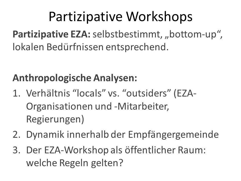 Partizipative Workshops