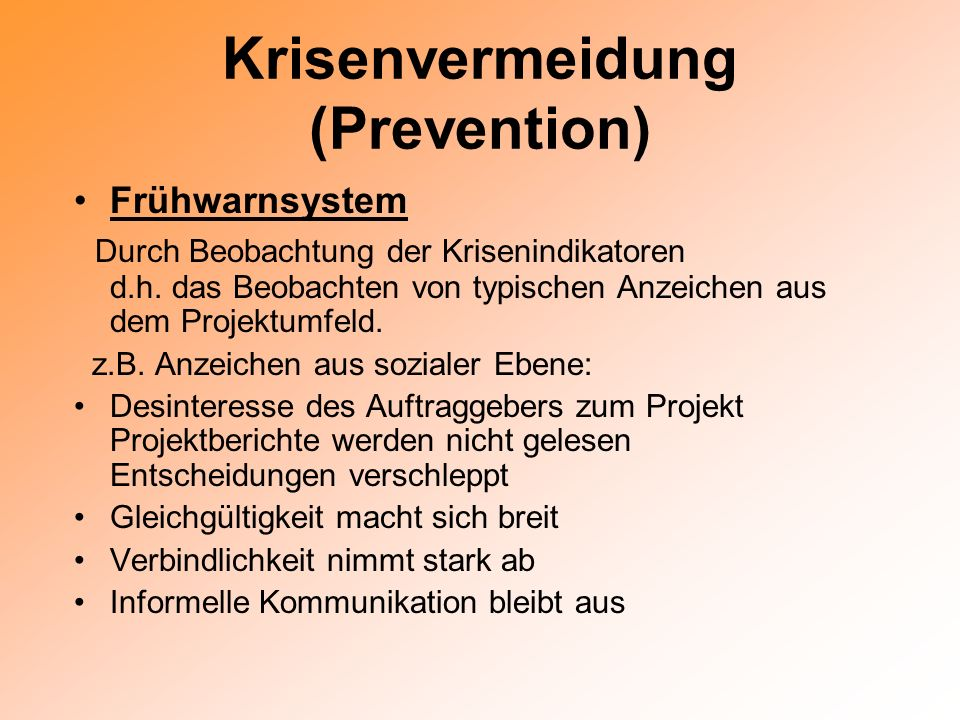 Krisenvermeidung (Prevention)