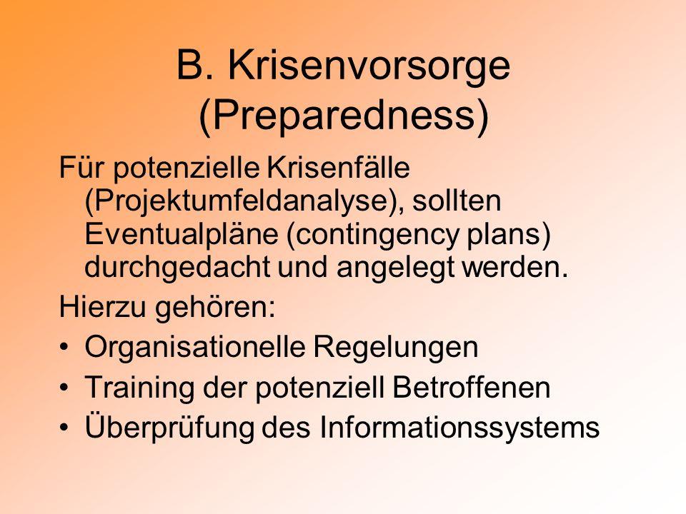 B. Krisenvorsorge (Preparedness)