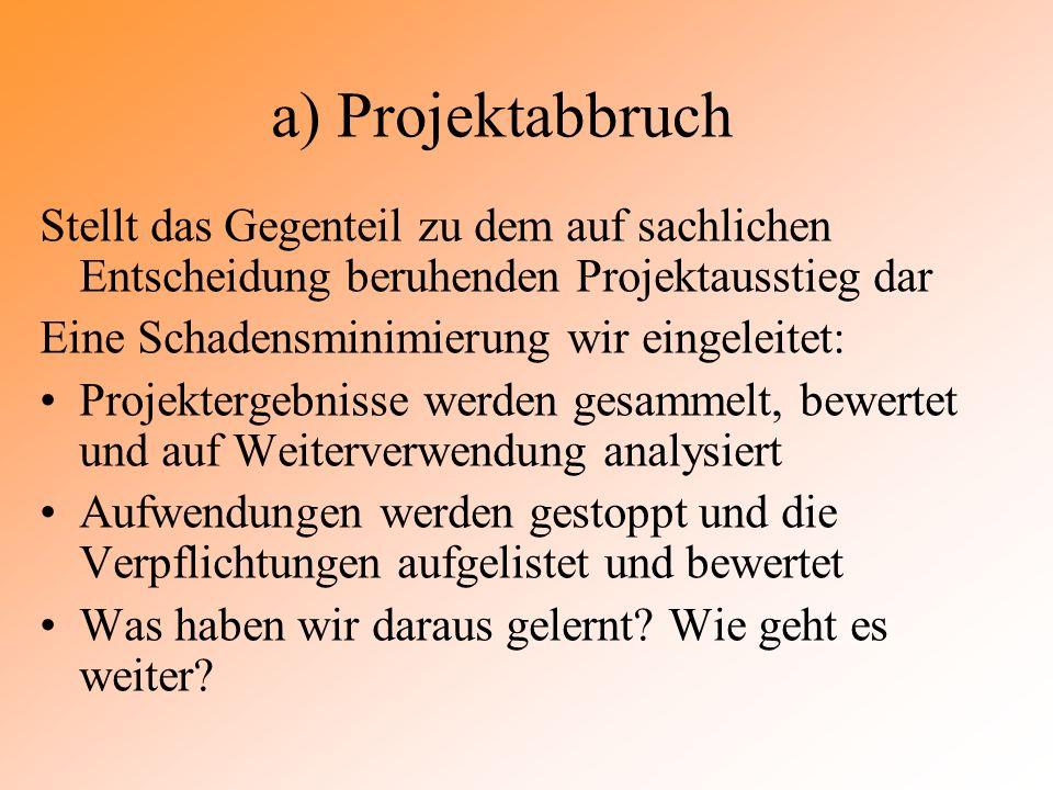 a) Projektabbruch Stellt das Gegenteil zu dem auf sachlichen Entscheidung beruhenden Projektausstieg dar.