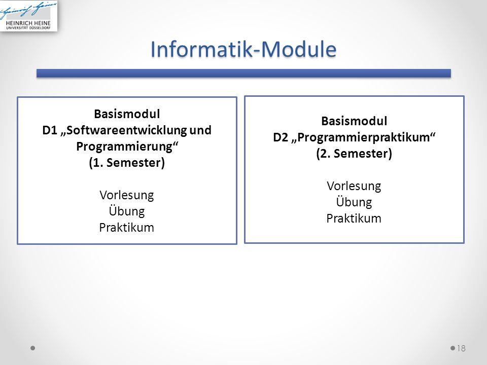 """D1 """"Softwareentwicklung und D2 """"Programmierpraktikum"""
