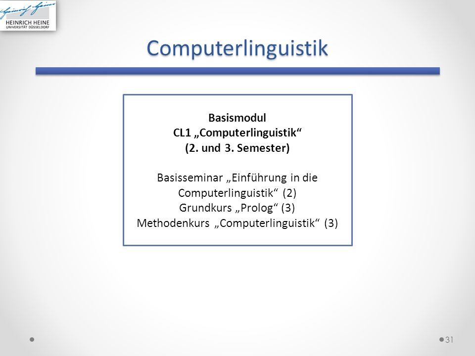 "CL1 ""Computerlinguistik"