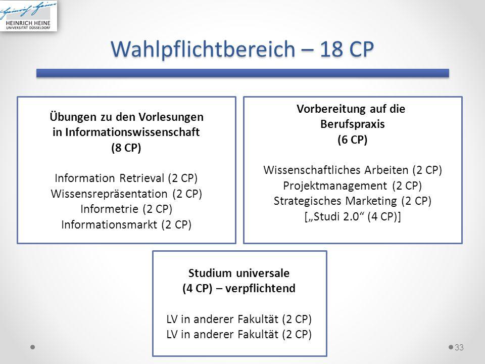 Wahlpflichtbereich – 18 CP