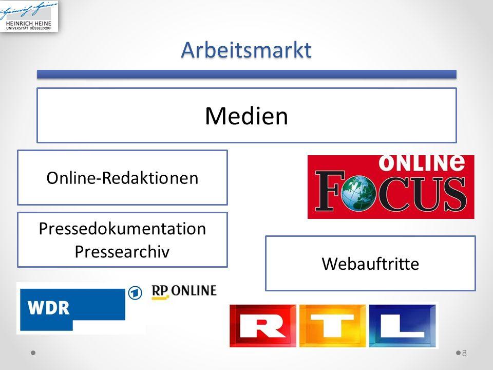 Medien Arbeitsmarkt Online-Redaktionen Pressedokumentation