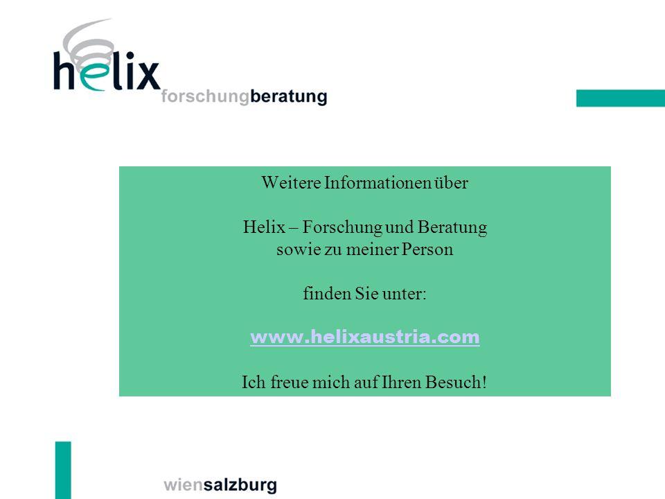 Weitere Informationen über Helix – Forschung und Beratung sowie zu meiner Person finden Sie unter: www.helixaustria.com Ich freue mich auf Ihren Besuch!