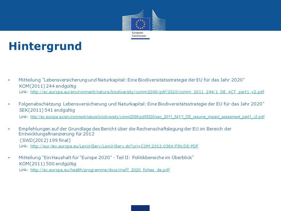 Hintergrund Mitteilung Lebensversicherung und Naturkapital: Eine Biodiversitätsstrategie der EU für das Jahr 2020