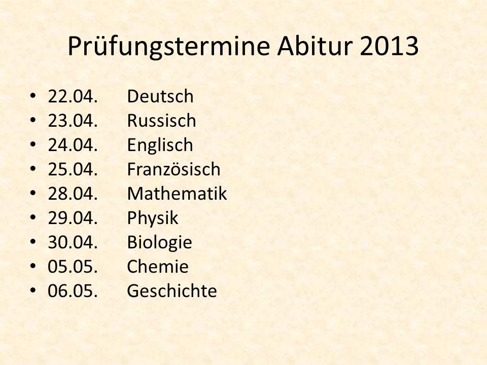 Prüfungstermine Abitur 2013
